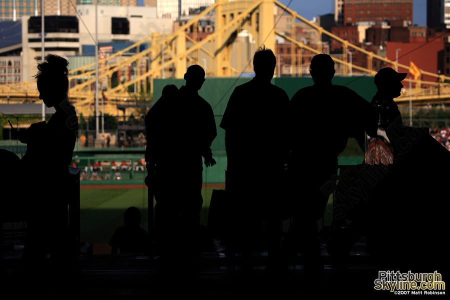 The silhouettes of Bucco fans