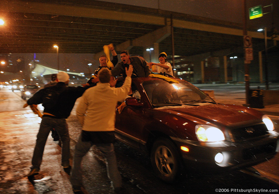 Celebration at Night of the Steelers Superbowl XL win