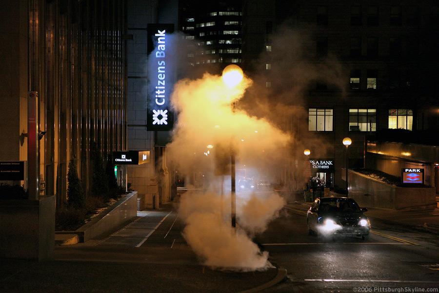 Manhole steam at night, Pittsburgh