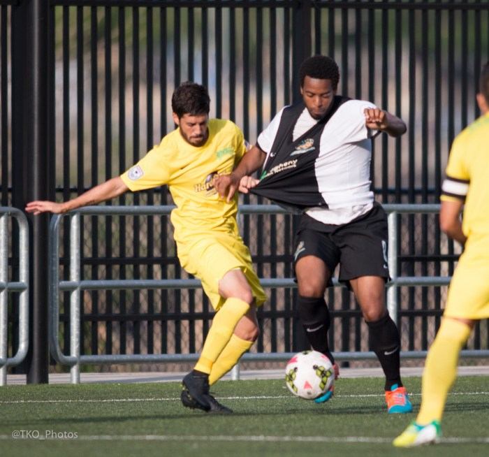 The Riverhounds back line was rock solid in their US Open Cup victory over the Tampa Bay Rowdies on Wednesday.  (Photo Courtesy of @TKOPhotos and Pittsburgh Riverhounds)