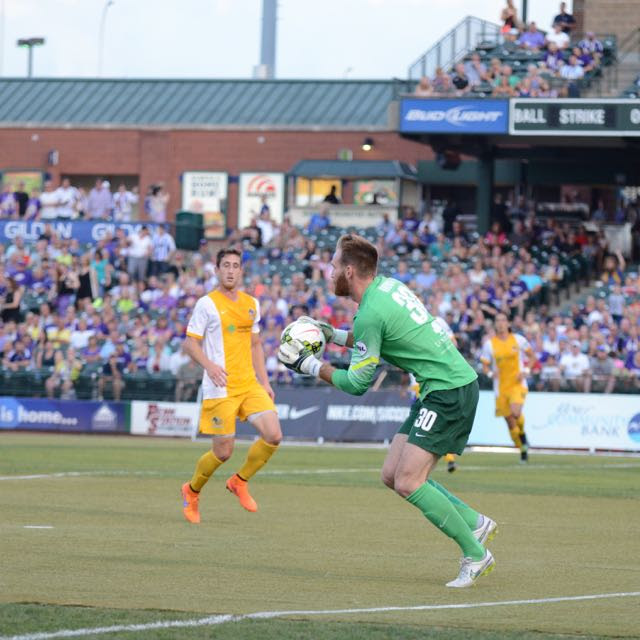 Calle Brown recorded his fifth shutout in his rookie season for the Hounds. (Photo Courtesy of Louisville City FC)