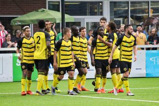 Riverhounds SC gets last instructions before the whistle.