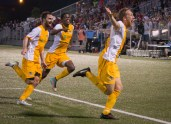 """Rob Vincent celebrates the equalizer in stoppage time in the """"Miracle on the Mon"""" - May 2015"""