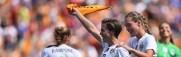 Meghan Klingenburg scores at Heinz Field, then celebrates by waving Terrible Towel (August 2015)