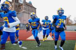 PITTSBURGH, PENNSYLVANIA : Westinghouse takes the field for the Pittsburgh City League Football Championship game at Cupples Stadium on November 14, 2020 in Pittsburgh, Pennsylvania (Photo by Jared Todhunter)
