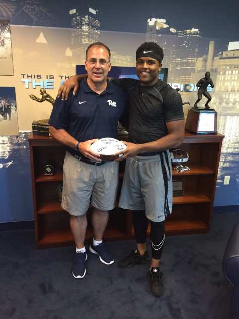 Cam Bright with Pat Narduzzi after committing, photo courtesy of Cam Bright