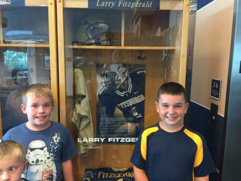 Ryan and Charlie at Larry Fitzgerald's locker