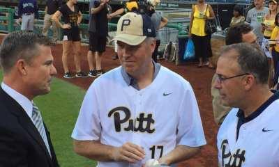 Patrick Gallagher and Pat Narduzzi at Pitt Night (Photo credit: Alan Saunders)