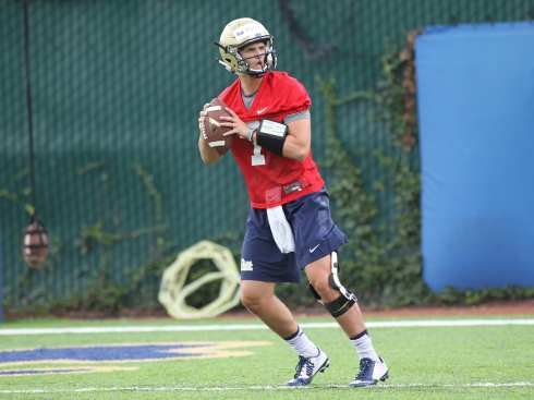 Thomas MacVittie works on his footwork during the first practice of the season (Photo credit: David Hague)