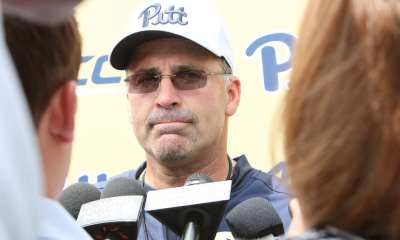 Coach Pat Narduzzi answers a few questions after Day 1 Practice (Photo credit: David Hague)