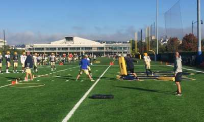 Pitt practices in their throwback helmets (Photo credit: Alan Saunders)