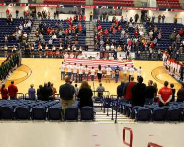 Flag before tip off of Duquesne Dukes November 11, 2016 (Photo by: David Hague)