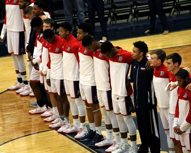 Duquesne Duke Line Up Before the Game November 11, 2016 (Photo by: David Hague)