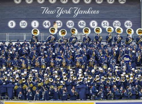 The Pitt Panthers Marching Band. The Northwestern Wildcats defeated the Pittsburgh Panthers 31-24 in the 2016 New Era Pinstripe Bowl at Yankee Stadium on Wednesday, December 28, 2016.