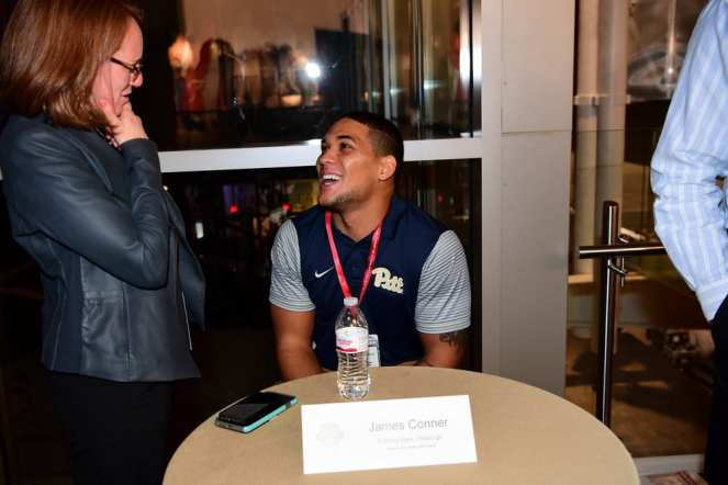 Atlanta, GA - December 7, 2016 - College Football Hall of Fame: James Conner of the University of Pittsburgh Panthers during the 2016 College Football Awards Player Tours (Photo by Phil Ellsworth / ESPN Images)