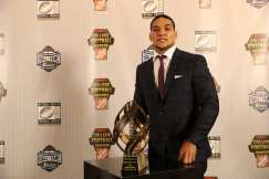 Atlanta, GA - December 8, 2016 - College Football Hall of Fame: Portrait of College Football Awards winner of the Disney Spirit Award, James Conner of the University of Pittsburgh Panthers (Photo by Allen Kee / ESPN Images)