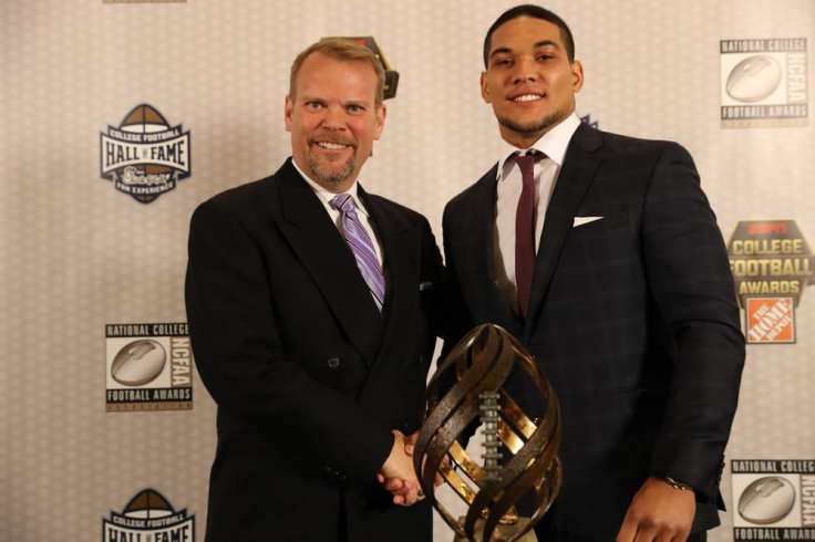 Atlanta, GA - December 8, 2016 - College Football Hall of Fame: Portrait of College Football Awards winner of the Disney Spirit Award, James Conner of the University of Pittsburgh Panthers and Faron Kelley (Photo by Allen Kee / ESPN Images)