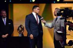 Atlanta, GA - December 8, 2016 - College Football Hall of Fame: James Conner of the University of Pittsburgh Panthers and Tom Rinaldi during the 2016 College Football Awards (Photo by Phil Ellsworth / ESPN Images)