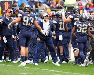 Pat Narduzzi celebrates after defensive stop October 28, 2017 -- David Hague