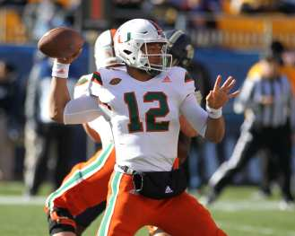 Malik Rosier (12) Miami Quarterback November 24, 2017 -- DAVID HAGUE/PSN