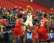 Mike Lewis II (1) game winning 3 point shot as the Duquesne Dukes took on Lamar December 19, 2017 -- DAVID HAGUE