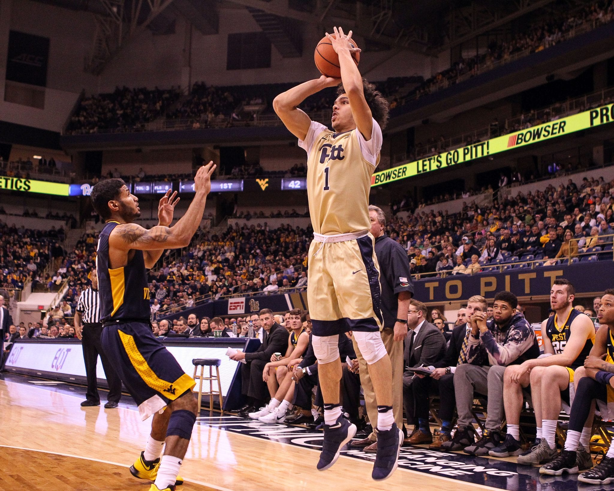 Parker Stewart (1) takes a 3 point shot as the Pitt Panthers take on West Virginia on December 9, 2017 -- DAVID HAGUE