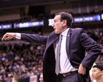 Mike Krzyzewski yells out play call against Pitt on January 10, 2018 -- DAVID HAGUE