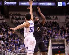 Jared Wilson-Frame (0) with the 3-pointer against Duke on January 10, 2018 -- DAVID HAGUE