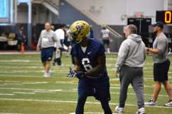 Aaron Mathews lines up at wide receiver with the first team.