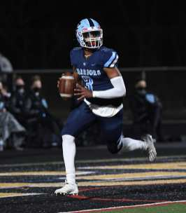 PITTSBURGH, PENNSYLVANIA - NOVEMBER 13: Ameer Dudley (1) during the WPIAL Class 3-A Football Championship game at Newman Stadium on November 13, 2020 in Pittsburgh, Pennsylvania (Photo by Justin Berl)