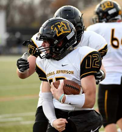 PITTSBURGH, PENNSYLVANIA - NOVEMBER 13: Jake Pugh (12) during the WPIAL Class 4-A Football Championship game at Newman Stadium on November 13, 2020 in Pittsburgh, Pennsylvania (Photo by Justin Berl)