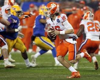 Trevor Lawrence (16) for Clemson in the ACC Championship Game December 1, 2018 -- David Hague/PSN