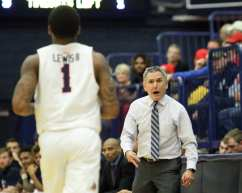 Duquesne Coach Keith Dambrot yells at Mike Lewis II (2) December 5, 2018 -- David Hague/PSN