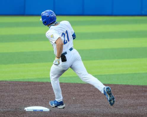 Kyle Hess (21) rounds the bases on his home run Pitt Baseball April 6, 2021 Photo by David Hague/PSN