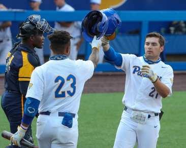 Kyle Hess (21) celebrates his home run Pitt Baseball April 6, 2021 Photo by David Hague/PSN