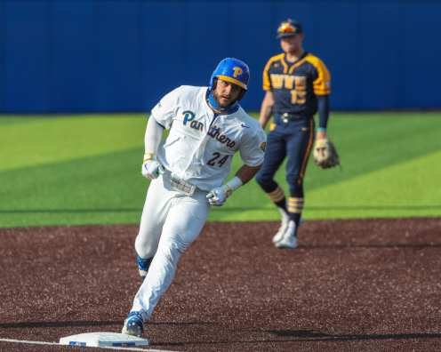 David Yanni (24) rounds bases on his home run Pitt Baseball April 6, 2021 Photo by David Hague/PSN