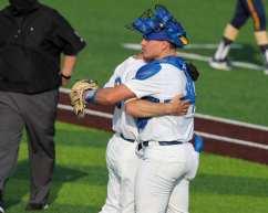 Jordan McCrum (28)and Nico Samarkos celebrate a win Pitt Baseball April 6, 2021 Photo by David Hague/PSN