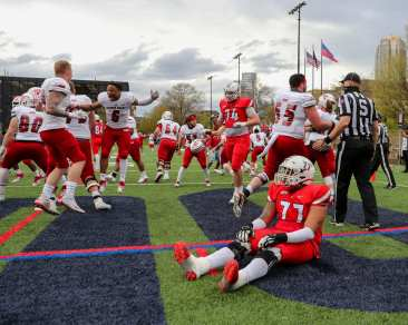 Vincent Lumia (77) sits as Sacred Heart celebrated Duquesne Football April 11, 2021 Photo by David Hague/PSN