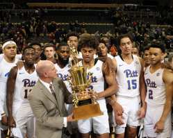 Pitt gets the City Game Trophy November 30 2018 -- David Hague/PSN