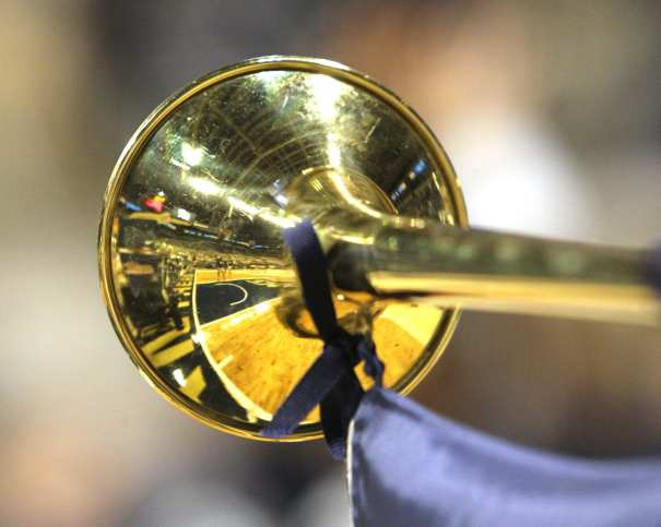 Pitt Band Reflection of the Peterson Event Center January 9, 2019 -- David Hague/PSN