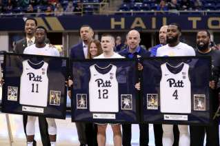 Side N'Dir (11) Joe Mascaro (12) Jared Wilson Frame (4) senior day March 9, 2019 -- David Hague/ PSN