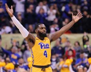Jared Wilson-Frame (4) Celebrates win over Notre Dame March 9, 2019 -- David Hague/ PSN