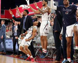 RMU Basketball Bench March 10, 2020 -- David Hague/PSN