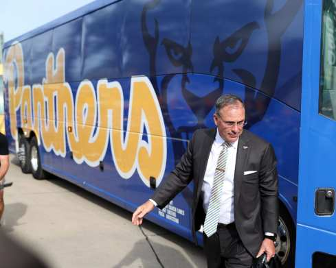 Pat Narduzzi gets off the bus before opener against Virginia -- August 31, 2019 Photo By David Hague/PSN