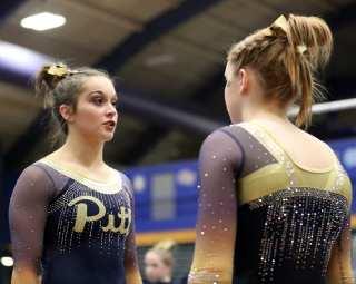 Sophie Bochener talks to Krista Collins Pitt Gymnastics January 12, 2019 -- David Hague/PSN