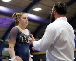 Krista Collins talks to Ryan Snider Pitt Gymnastics January 12, 2019 -- David Hague/PSN