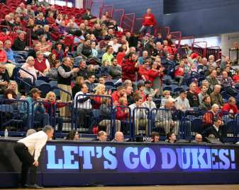 Duquesne Head Coach Keith Dambrot and Duquesne fans March 2, 2019 -- David Hague/PSN