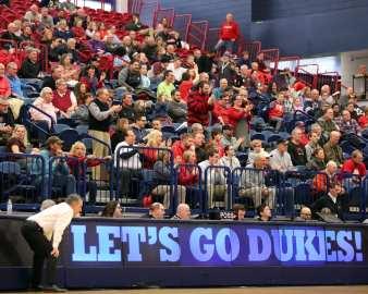 Duquesne Head Coach Keith Dambrot and Duquesne fans March 2, 2019 -- David Hague/PSN