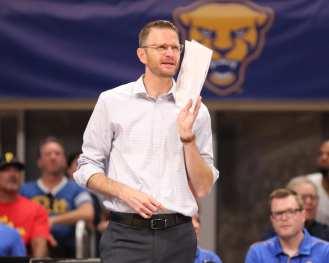 Coach Dan Fisher for Pitt Volleyball September 22, 2019 -- David Hague/PSN
