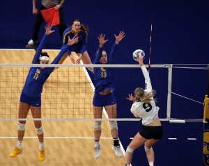 Sabrina Starks (11) and Stephanie Williams (13) for Pitt Volleyball September 22, 2019 -- David Hague/PSN